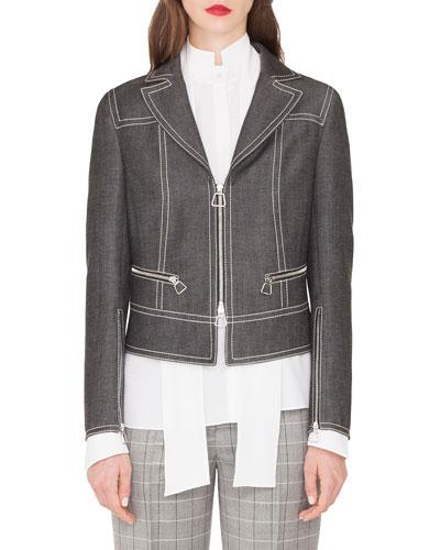 Aaron Short Zip Front Cotton Denim Jacket