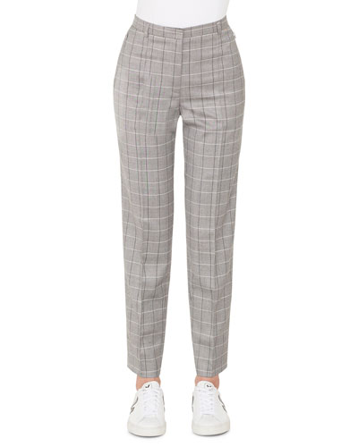 Colin Plaid Straight-Leg Cool Wool Pants
