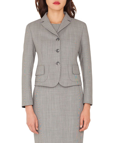 Short End-on-End Woven Wool-Blend Jacket