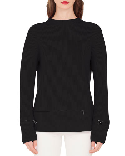 Crewneck Ribbed Cashmere Pullover Sweater