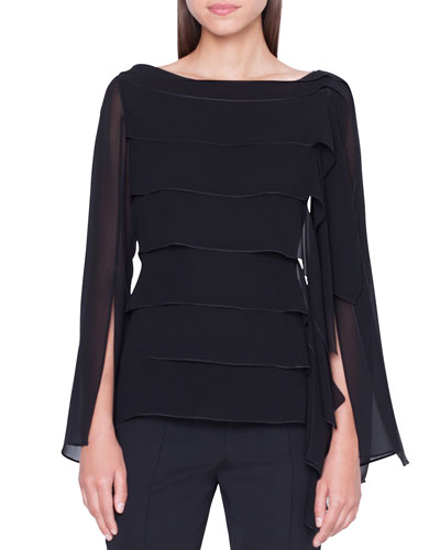 Long-Sleeve Horizontal Pleated Blouse