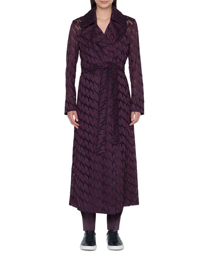 Babylon Long Coat with Lips Embroidery