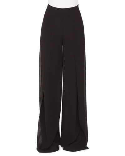 Fellia Wide-Leg Silk Georgette Pants