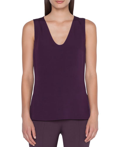 Sleeveless V-Neck Silk Crepe Top