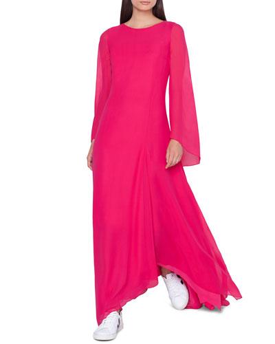 Boat-Neck Long-Sleeve A-Line Silk Dress