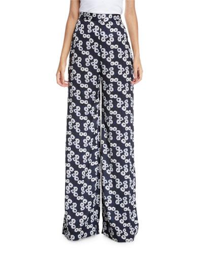 High-Waist Wide-Leg Floral-Print Pants