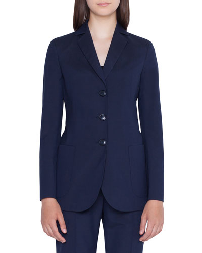 Seersucker Three-Button Blazer
