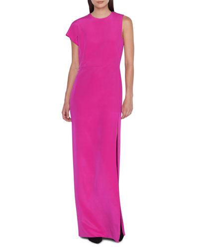 One-Sleeve Silk Jersey Column Gown Dress
