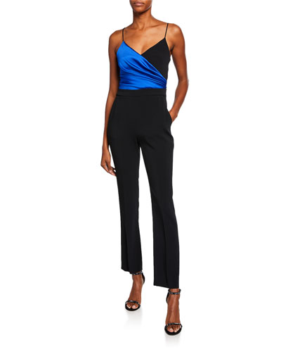 90cd470b042 Colorblock Wrapped Satin Jumpsuit