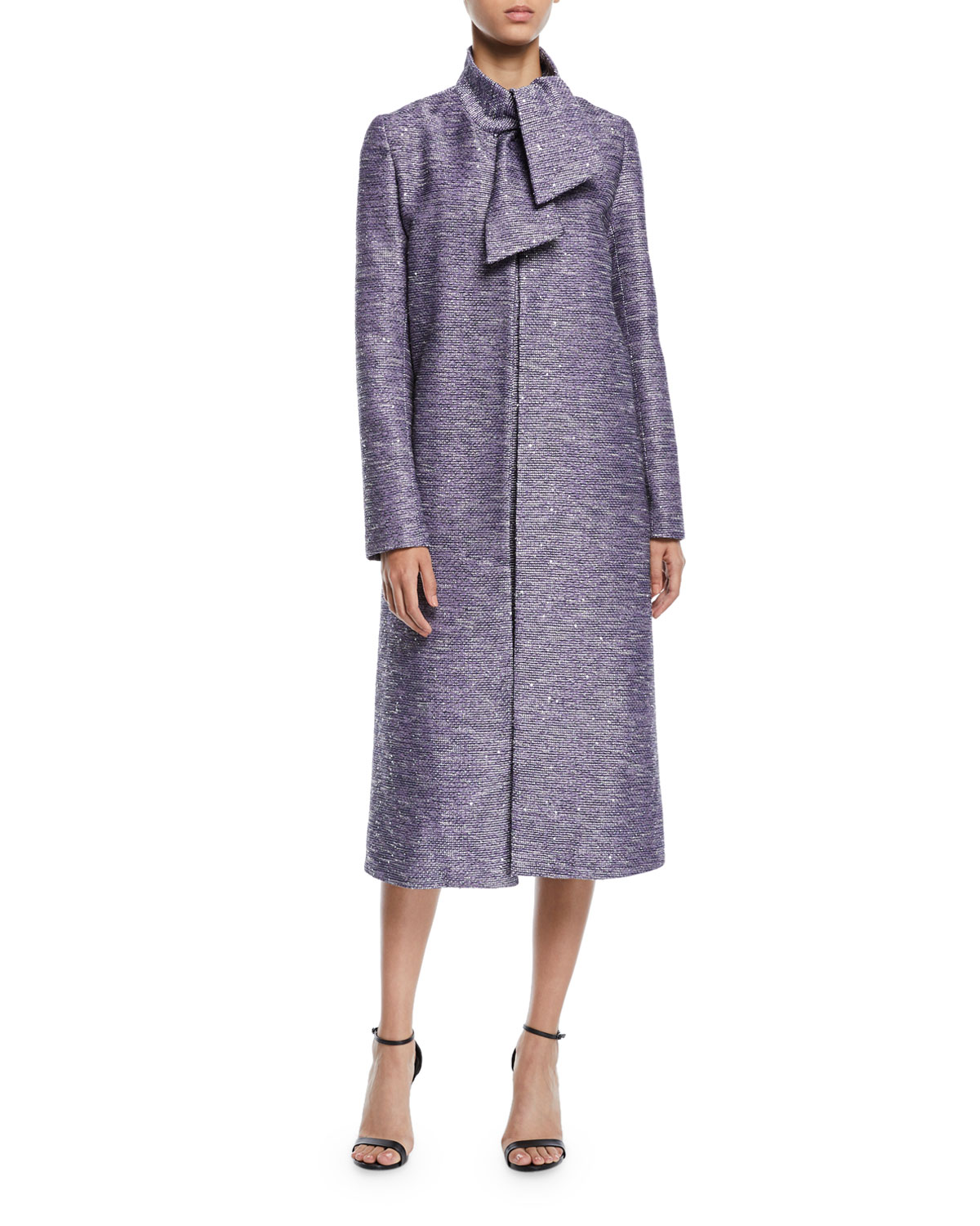 Lela Rose Coats TIE-NECK SEQUIN-EMBROIDERED TWEED COAT
