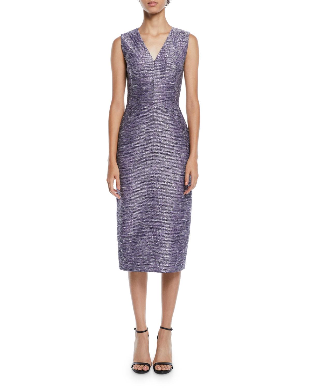 Lela Rose Dresses V-NECK SLEEVELESS SEQUIN-EMBROIDERED TWEED SHEATH COCKTAIL DRESS