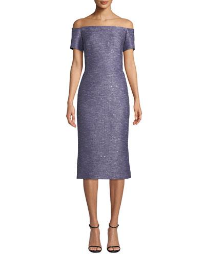 4374a9ee3f4 Off-the-Shoulder Sequin Tweed Cocktail Dress Quick Look. Lela Rose