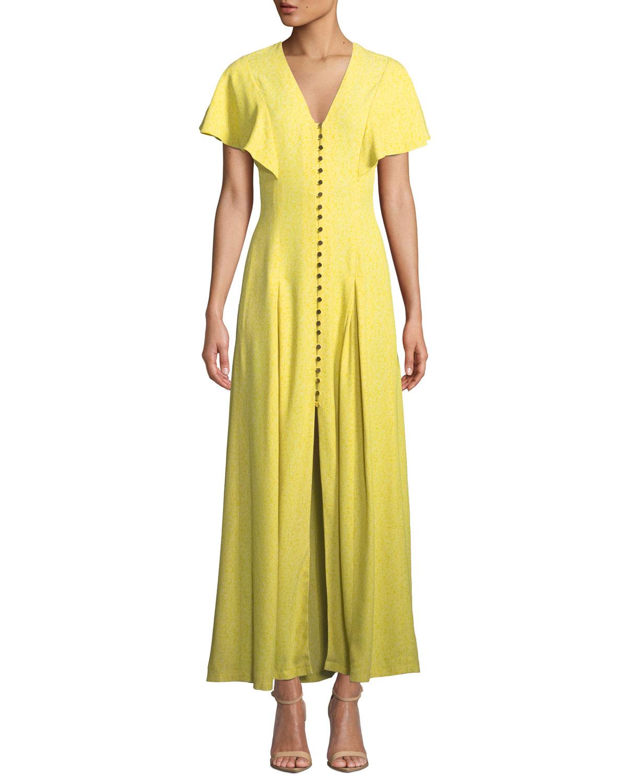Lela Rose Dresses V-NECK FLOUNCE-SLEEVE BUTTON-FRONT MAXI DRESS