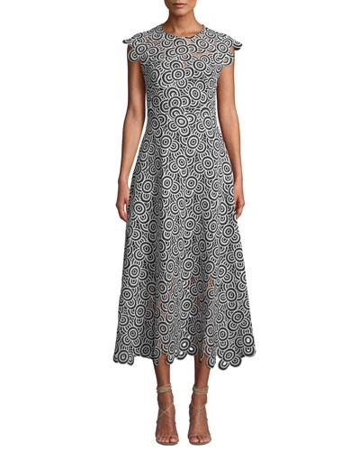 2a43df5e014b Circle-Lace Cap-Sleeve A-Line Midi Dress Quick Look. Lela Rose