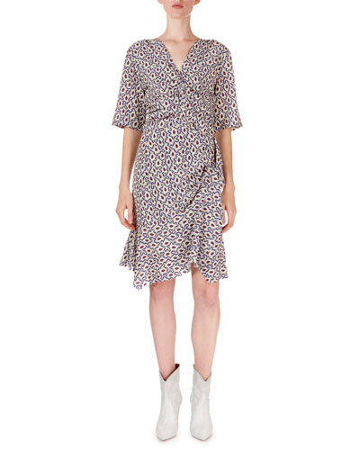 Arodie Abstract-Floral Zip-Front Dress