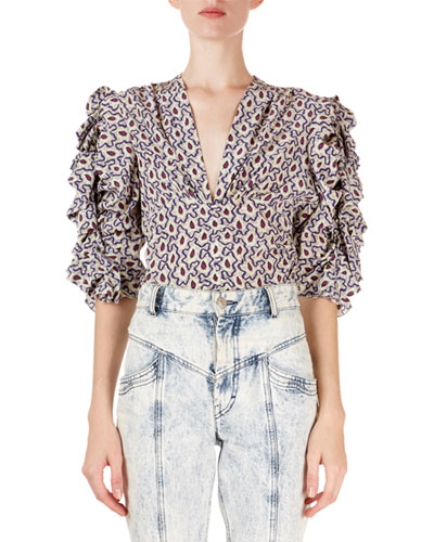 Andora Floral Ruched V-Neck Blouse