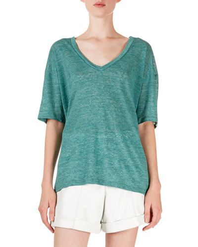 Maree Heathered V-Neck Short-Sleeve Tee
