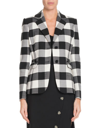 Single-Breasted Two-Button Plaid Wool Blazer
