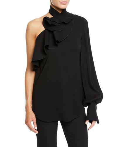 One-Shoulder Long-Sleeve Ruffle Stretch-Wool Top