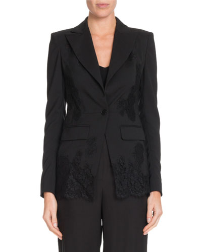 Tonal Lace One-Button Wool Blazer w/ Lace Panels