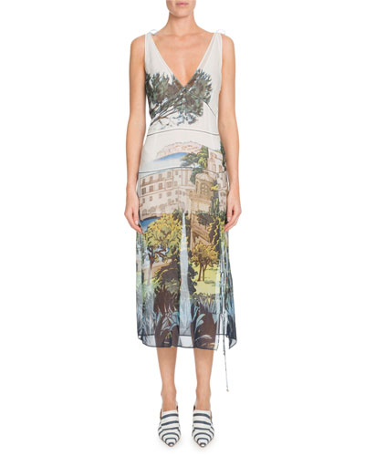 V-Neck Sleeveless Landscape-Print Silk Chiffon Dress