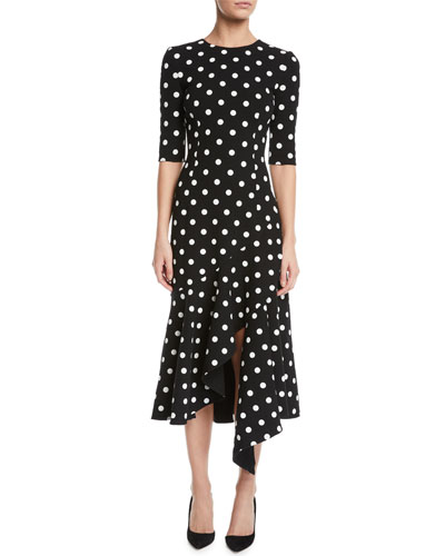 Polka-Dot Drop-Waist Fitted Asymmetric-Hem Midi Dress
