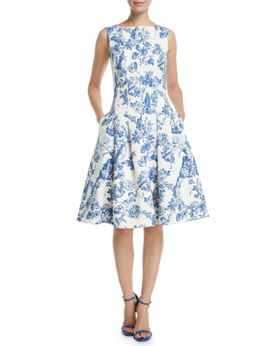 c8e0ed14502 Sleeveless Fit-and-Flare Toile Knee-Length Day Dress