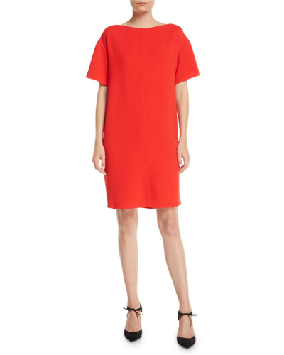 Tieback Short-Sleeve Knee-Length Stretch-Wool Shift Dress