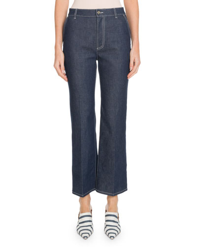 Wide-Leg Cropped Jeans w/ Topstitching