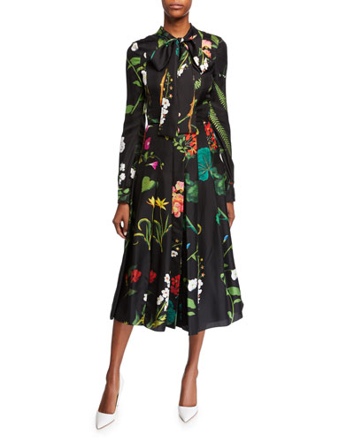 Long-Sleeve Tie-Neck Botanical Garden Silk Dress