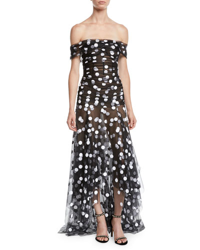 1e49c376f211 Off-the-Shoulder Polka-Dot Tulle Evening Gown