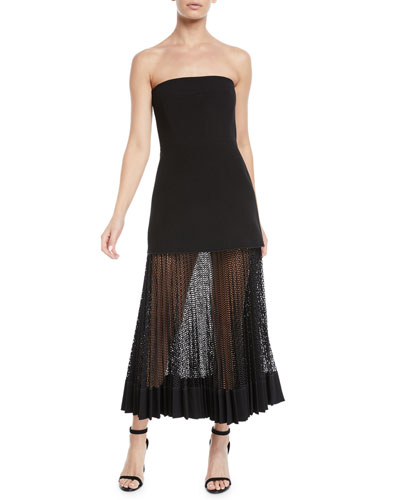 Strapless Bonded Crepe Body-con Cocktail Dress w/ Sheer Bottom
