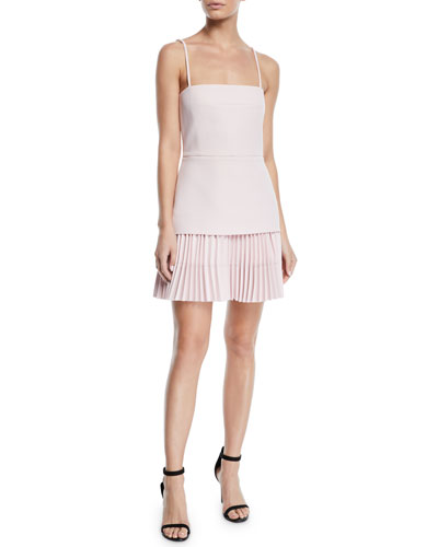 Square-Neck Crepe Bodice Pleated Skirt Mini Dress