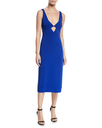 V-Neck Cutout-Waist Stretch-Cady Midi Sheath Dress