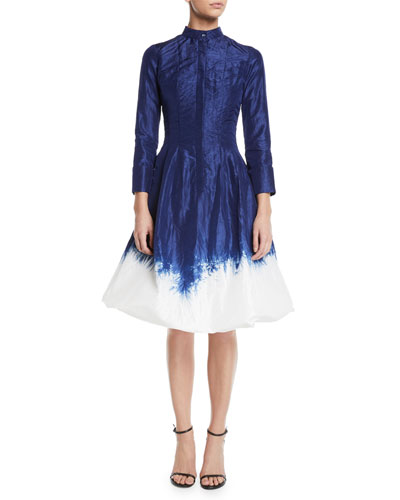 Long-Sleeve Dip-Dye Bubble-Hem Fit-and-Flare Dress