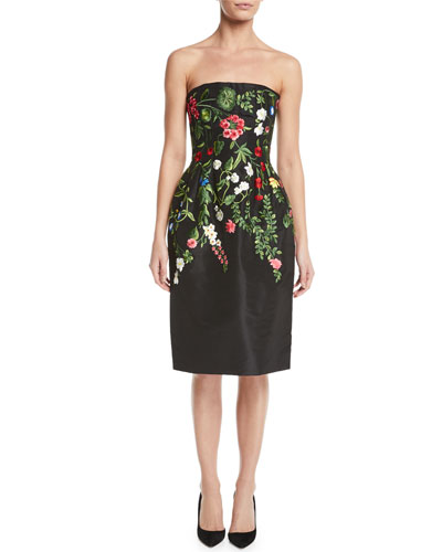 Strapless Botanical-Embroidered Two-Pocket Cocktail Dress