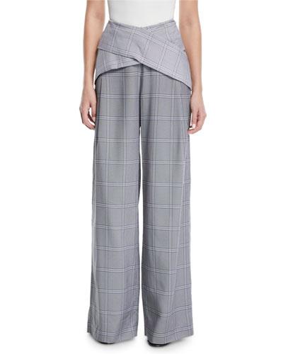 Wide-Leg Check-Print Viscose Pants w/ Crisscross Waist