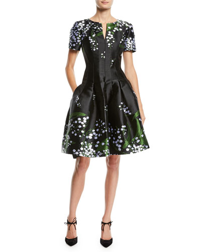 Short-Sleeve Split-Neck Fit-and-Flare Floral-Embroidered Dress