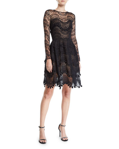 Wavy Lace Scalloped Illusion Dress
