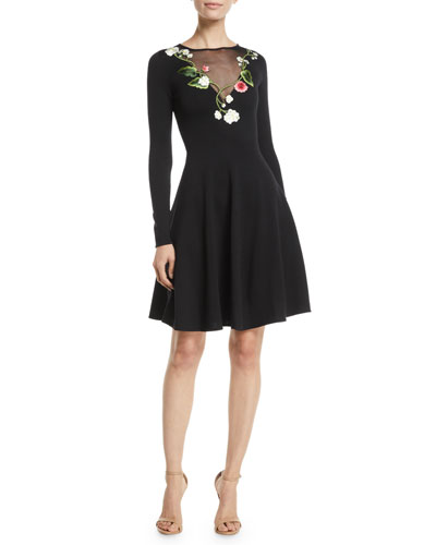 Long-Sleeve Floral-Embroidered Sheer V-Neck Fit-and-Flare Stretch-Wool Dress