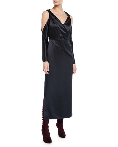 V-Neck Twist-Front Cold-Shoulder Mulberry Silk A-Line Dress
