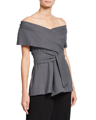 Off-the-Shoulder Wrap-Tie Printed Peplum Top