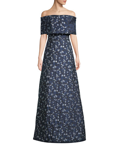 Off-the-Shoulder Metallic Floral-Brocade A-Line Evening Gown