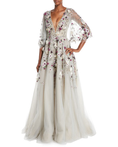 Plunging V-Neck Cape-Sleeve Floral-Applique Evening Gown