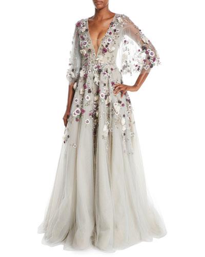 Plunging V-Neck Cape-Sleeve Floral-Applique Evening Gown