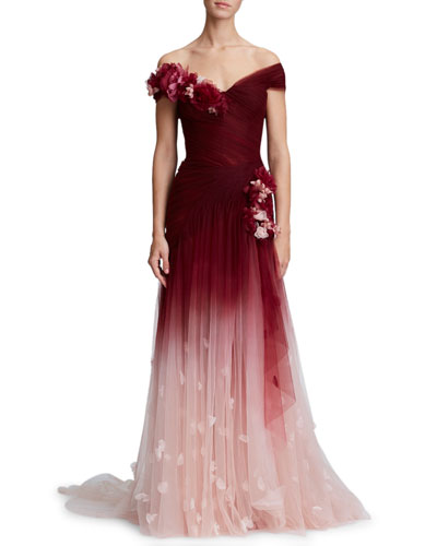 94e287483 3-D Flower Embellishment Off-the-Shoulder Ombre Tulle Evening Gown