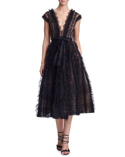 Plunging V-Neck Lace & Ruffled Cocktail Dress