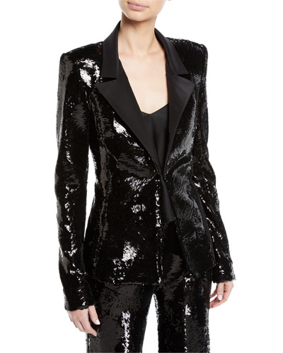 Single-Breasted Sequin Jacket w/ Faille Collar