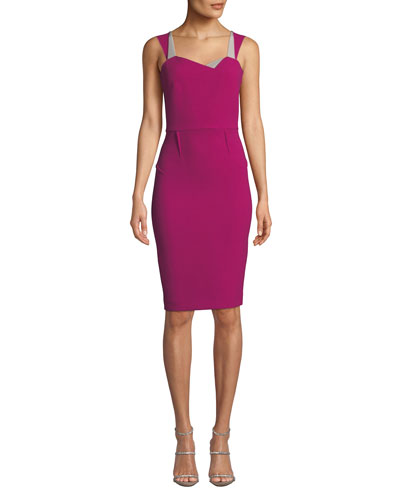 Colorblocked Sweetheart Fitted Dress