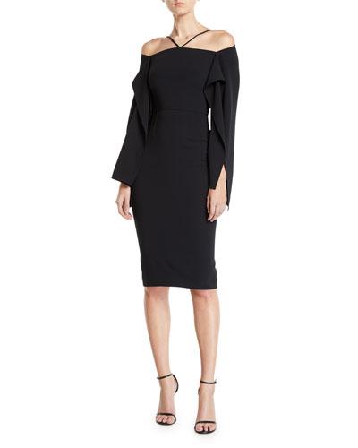 Halter-Style Cascading-Sleeve Sheath Dress